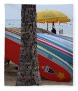 Surfboards On Waikiki Beach Fleece Blanket