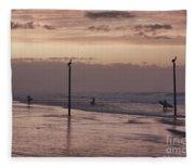 Surfers Pelicans And Pink Sky Fleece Blanket