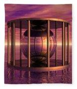 Metal Cage Floating In Water Fleece Blanket
