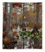 Swamp In Fall Fleece Blanket