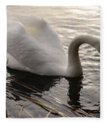 Swan Along The Shore Fleece Blanket