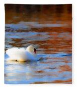 Swan Gold And Blue Fleece Blanket