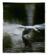 Swan In Motion Fleece Blanket