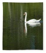 Swan On Wintergreen Lake Fleece Blanket