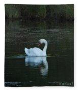 Swan Reflection Fleece Blanket