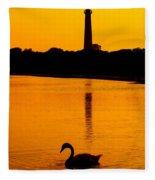Swan Sunset At The Light Fleece Blanket