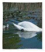 Swan With Cygnets Fleece Blanket