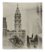 Swann Memorial Fountain In Sepia Fleece Blanket