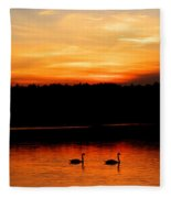 Swans In The Sunset Fleece Blanket