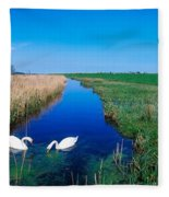 Swans On Bog, Near Newcastle, Co Fleece Blanket