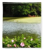 Swans On Pond And Hibiscus With Oil Painting Effect Fleece Blanket