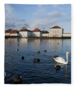 Swans Seen At Nymphenburg Palace Fleece Blanket