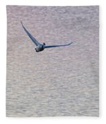Swans Taking Off From Tagish River Fleece Blanket