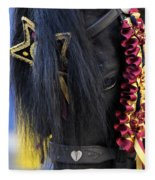 sweetheart - a Menorca race horse with traditional multicolor ribbons and mirror star Fleece Blanket