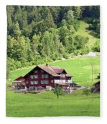 Swiss Village In The Alps Fleece Blanket