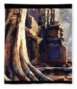 Ta Prohm Khmer Temple In Cambodia Fleece Blanket