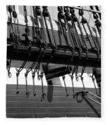 Tall Ship Canons Black And White Fleece Blanket