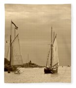 Tall Ships Sailing In Sepia Fleece Blanket
