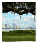 Tampa Skyline Through Old Oak Fleece Blanket