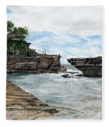 Tanah Lot Temple II Bali Indonesia Fleece Blanket