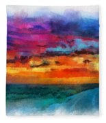 Taos Sunset Iv Watercolor Fleece Blanket