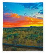 Taos Sunset Ix Fleece Blanket