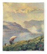 Tea Picking - Darjeeling - India Fleece Blanket