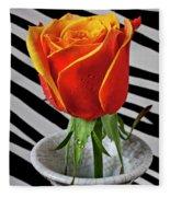 Tea Rose In Striped Vase Fleece Blanket