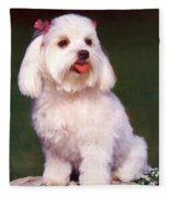 Tea Rose Maltese Fleece Blanket