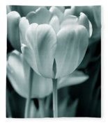 Teal Luminous Tulip Flowers Fleece Blanket