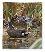 Teal Pair In The Cattails Fleece Blanket