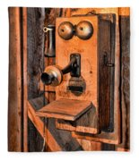 Telephone - Antique Hand Cranked Phone Fleece Blanket