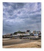 Tenby Harbour Low Tide Fleece Blanket