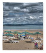 Tenby North Beach 3 Fleece Blanket