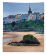 Tenby Over North Beach Painted Fleece Blanket