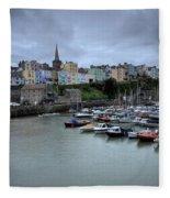 Tenby Town Across The Harbour Fleece Blanket