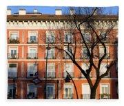 Tenement House Facade In Madrid Fleece Blanket
