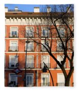 Tenement House Facade In Madrid Fleece Blanket