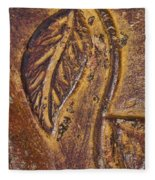 Terracotta Raised Relief Pottery Leaf Fleece Blanket