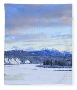 Teslin River At Sunset, Teslin, Yukon Fleece Blanket