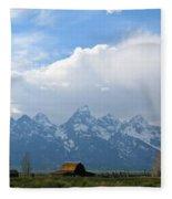 Teton Mountains And Barn Fleece Blanket