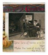 Thanksgiving Card, 1909 Fleece Blanket