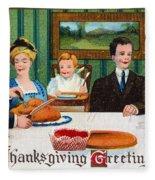 Thanksgiving Card, 1910 Fleece Blanket