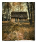 Thatched Roof Cottage In The Woods Fleece Blanket