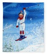 The Aerial Skier 15 Fleece Blanket