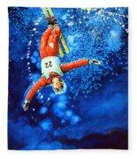 The Aerial Skier 20 Fleece Blanket