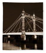 The Albert Bridge London Sepia Toned Fleece Blanket