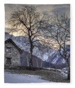 The Alps In Winter Fleece Blanket