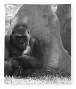 The Angry Ape In Black And White Fleece Blanket