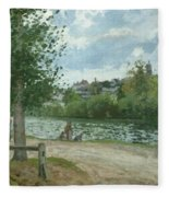 The Banks Of The Oise At Pontoise Fleece Blanket